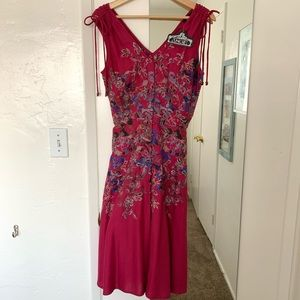 NWT Angie Magenta Floral Fitted Button Up Dress